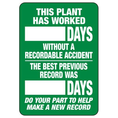 Plant Accident Free Scoreboard Sign
