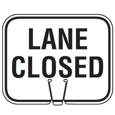 Plastic Traffic Cone Signs- Lane Closed