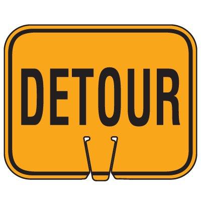 Plastic Traffic Cone Signs- Detour