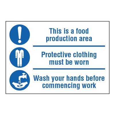 ToughWash® Adhesive Signs - This Is A Food Production Area