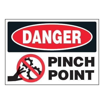 ToughWash® Adhesive Signs - Danger Pinch Point