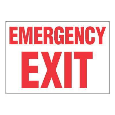 ToughWash® Adhesive Signs - Emergency Exit