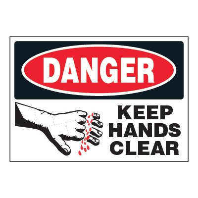 ToughWash® Adhesive Signs - Danger Keep Hands Clear