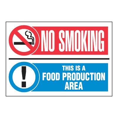 ToughWash® Adhesive Signs - No Smoking Food Production Area