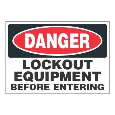 ToughWash® Adhesive Signs - Danger Lockout Equipment