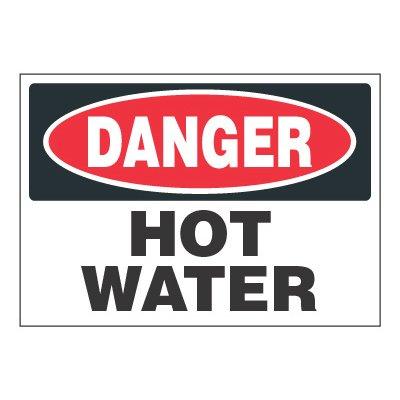 ToughWash® Adhesive Signs - Danger Hot Water
