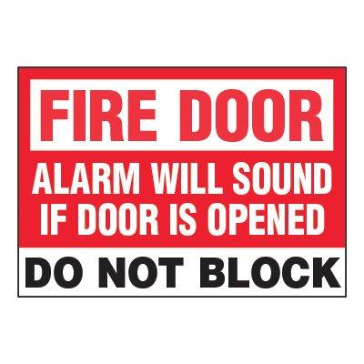 ToughWash® Adhesive Signs - Fire Door Alarm Will Sound