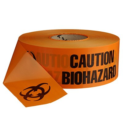 Biohazard Barricade Tape with Symbol - Standard, Black & Orange