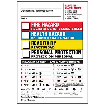 Bilingual PPE Chemical Hazard Label