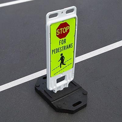 STOP For Pedestrians - 40 H x 14 W Plastic Diamond-Grade Traffic Control Crosswalk Sign