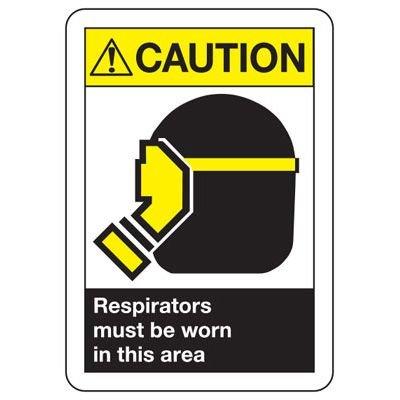 ANSI Caution Respirators Worn Signs