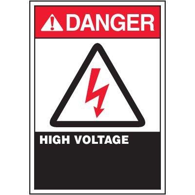 ANSI Warning Labels - Danger High Voltage