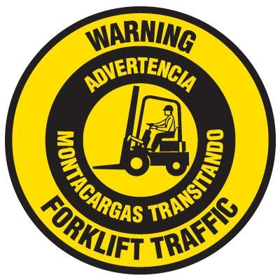 Bilingual Floor Safety Signs - Warning Forklift Traffic