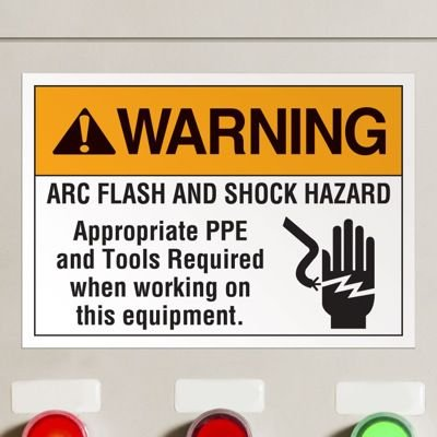 Arc Flash And Shock Hazard - Voltage Warning Labels