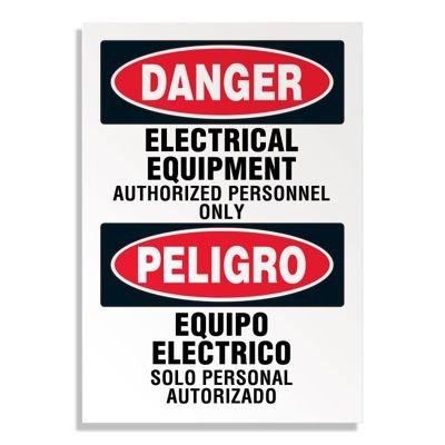 Voltage Warning Labels - Bilingual Danger Electrical Equipment