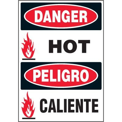 Bilingual Hazard Labels - Danger Hot