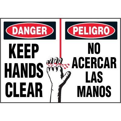Bilingual Hazard Labels - Danger Keep Hands Clear
