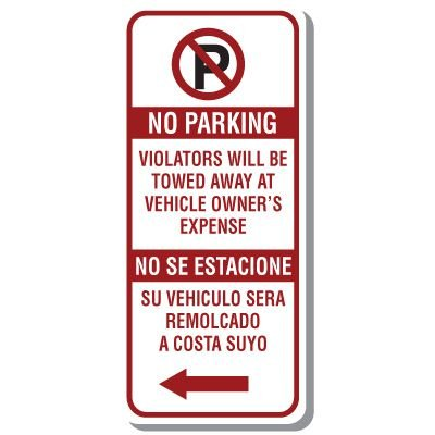 Bilingual No Parking Sign with Symbol & Left Arrow