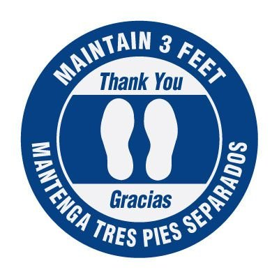 Bilingual Floor Markers - Maintain 3 Feet - Blue