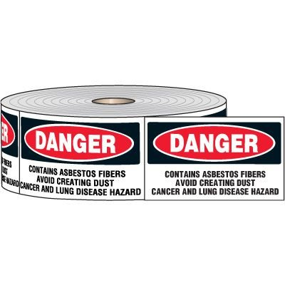 Chemical Hazard Labels On-A-Roll- DANGER Contains Asbestos