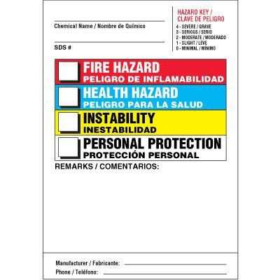 Bilingual Color Bar Chemical Hazard Label