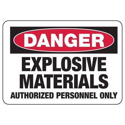 Chemical Warning Signs - Danger Explosive Materials