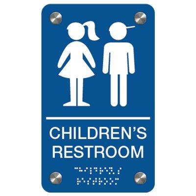 Children's Restroom (Boy/Girl Symbols) - Premium ADA Braille Restroom Signs