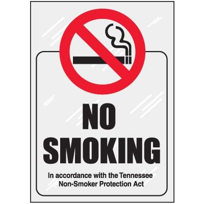 Tennessee No Smoking Window Decal