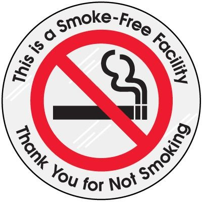 Smoke Free Facility Clear Adhesive Labels