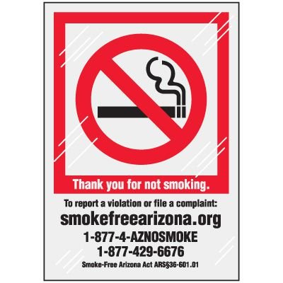 Arizona No Smoking Window Decal