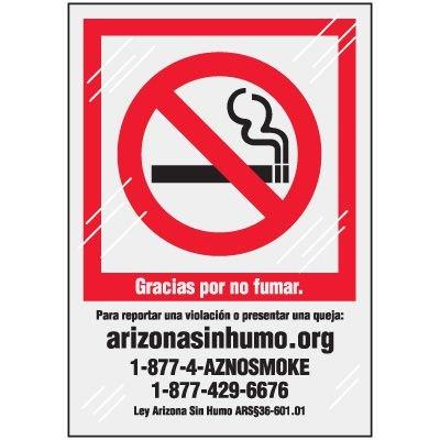 Spanish Arizona No Smoking Window Decal