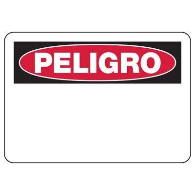 Spanish Write-On Blank Danger Sign