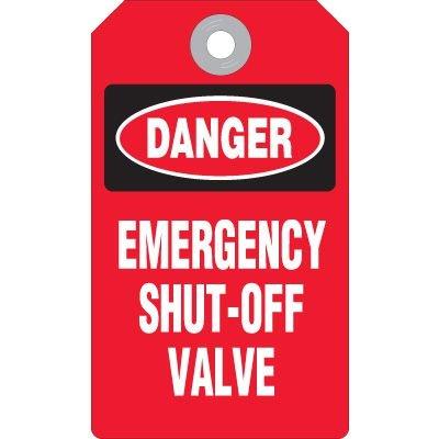Danger Emergency Shut-Off Valve Tags