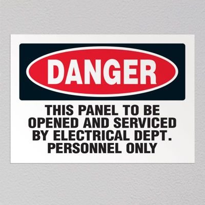Service By Electrical Department Only - Voltage Warning Labels