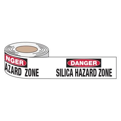 Danger Silica Hazard Zone - Anti-Slip Message Tape