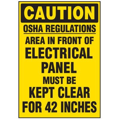Electrical Panel Must Be Kept Clear - Voltage Warning Labels