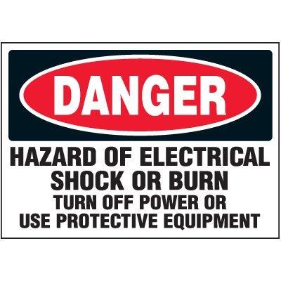 Voltage Warning Labels - Danger Hazard of Shock Or Burn