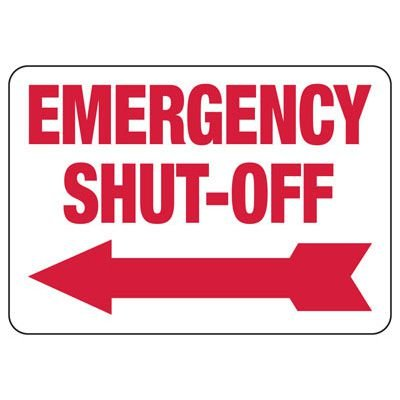 Emergency Shut-Off Sign (Left Arrow)