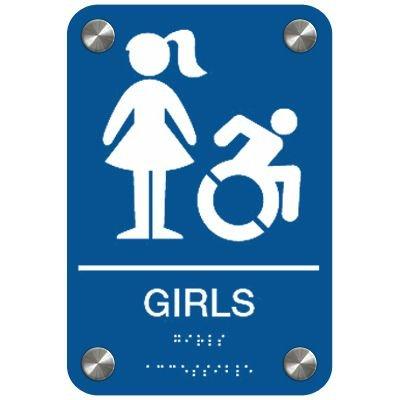 Girls w/ Graphic (Dynamic Accessibility) - Premium ADA Restroom Signs