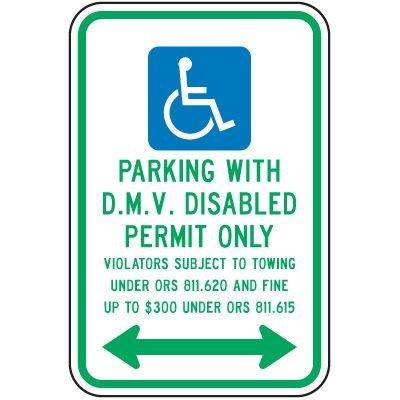 D.M.V. Permit Parking Fine Sign