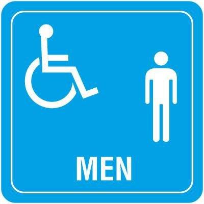 Men's Handicap Restroom Signs - 6 x 6