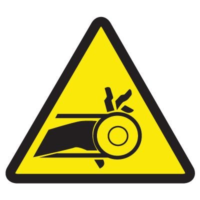 ISO Warning Symbol Labels - Belt Drive Entrapment Hazard
