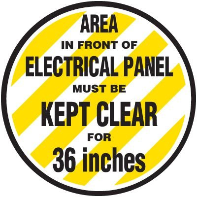 Floor Safety Signs - Area In Front Of Electrical Panel Must Be Kept Clear