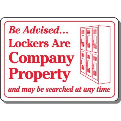 Lockers May Be Searched Sign