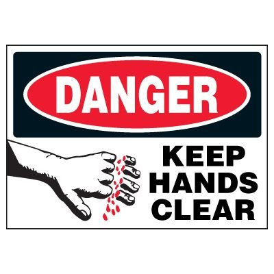 Danger Keep Hands Clear Warning Markers