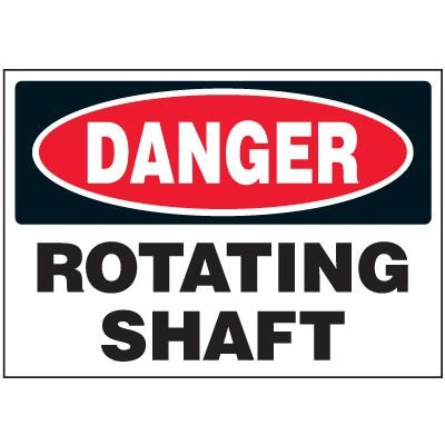 Rotating Shaft Machine Safety Labels