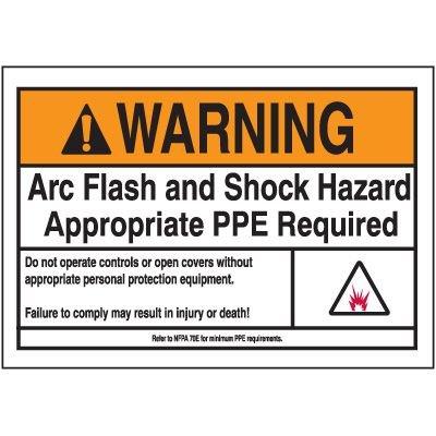 Warning PPE Arc Flash Label