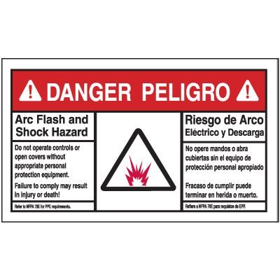 Bilingual Danger Arc Flash Label