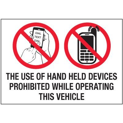 No Texting Security Labels - The Use Of Hand Held Devices Prohibited