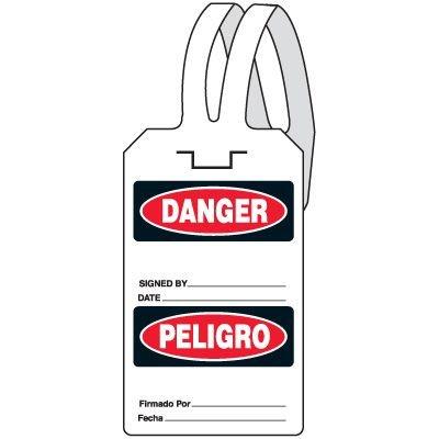 Bilingual Danger Self-Fastening Tag